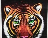 Vtg Sm 1974 Bengal Tiger Black Light SMALL Flocked Poster