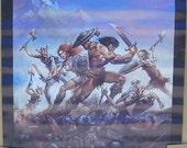 Vintage 1976 Battle of the Walking Dead Colored Fantasy Poster Art by Boris Vallejo