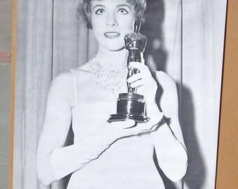 Vtg 60s B&W Trilby Oscar Julie Andrews Movie Poster NOS