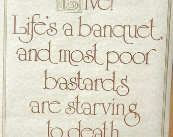 "Vtg 1970's 1972 ""Live, Life's A Banquet"" Hippie Poster Gemini Rising"