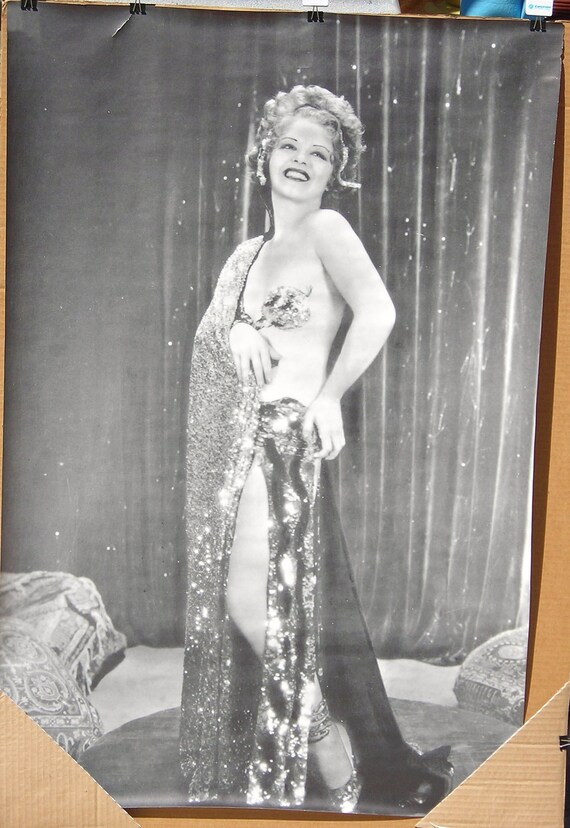 Vtg. B&W 60s Trilby Clara Bow Flapper Pin up Poster NOS