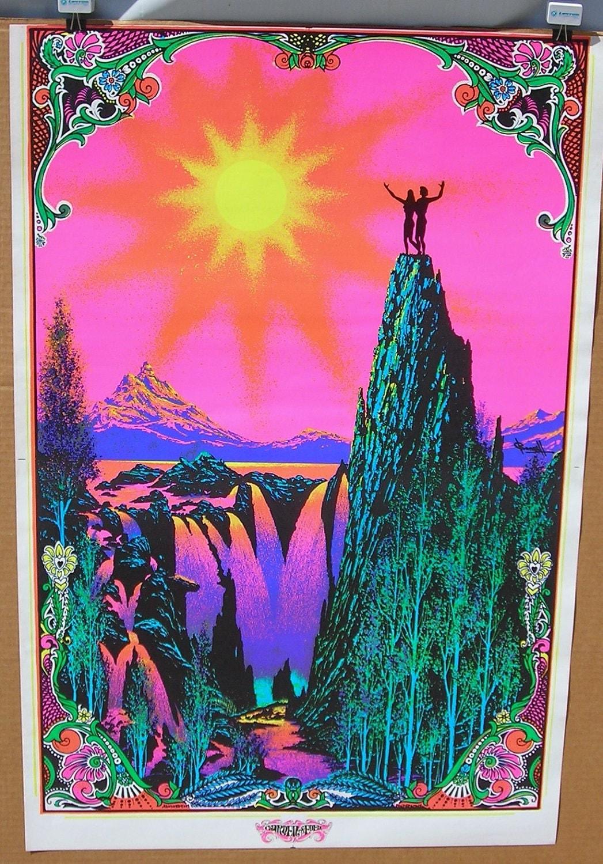 Vintage 1970's Garden of Eden BlackLight Hippie Poster