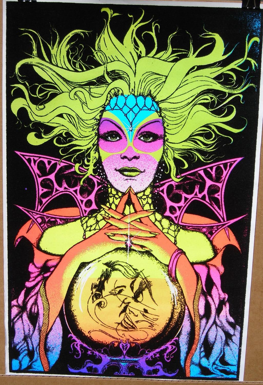 Vtg SMALL 70s Blacklight Fortune Teller Flocked Poster