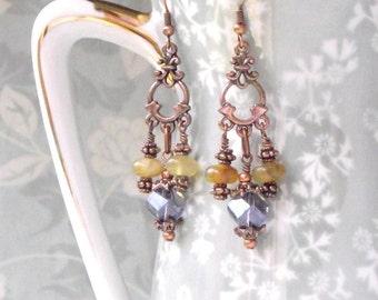 Lilac Crystal and Jadeite Chandelier Earrings