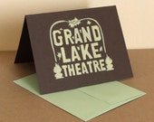 Single Oakland Grand Lake Theater Linocut Card in Pale Yellow
