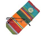 Eye Glass Case - cotton canvas - button closure - deckchair stripes