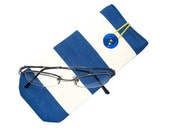 Protective case for eye glasses- deckchair stripes - button closure.