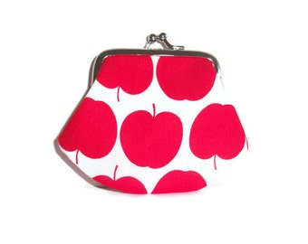Red Coin Purse - Small Change Purse - Fabric Coin Purse - Money Wallet - Framed Coin Purse