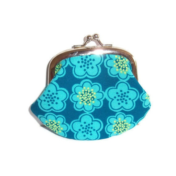 Fabric Coin Purse - turquoise blue