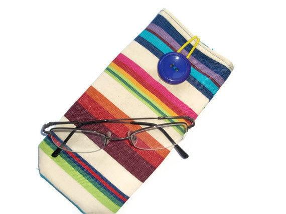 Cotton Canvas Eye Glass Case - button closure - deckchair stripes