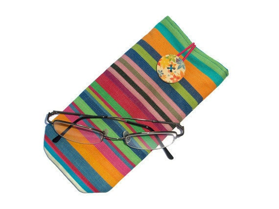 Eye Glass Case - cotton canvas - button closure - deckchair stripes