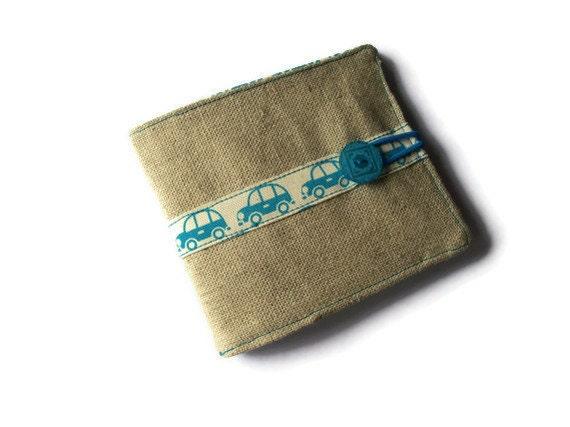 Money Wallet - Linen Fabric Wallet -  business/bank card holder