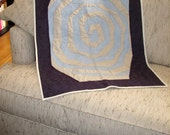 Handmade, machine quilted Spiral baby quilt for boys or girls