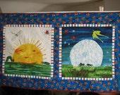 Handmade, machine quilted Very Hungry Caterpillar children's quilt