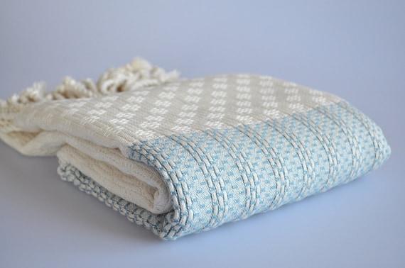 Handwoven Turkish Bath Towel - Wicker Peshtemal - Turquoise Blue