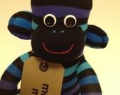 Extra Large Shades of Turquoise/blue Stripe Sock Monkey, toy, doll, personalised/personalized