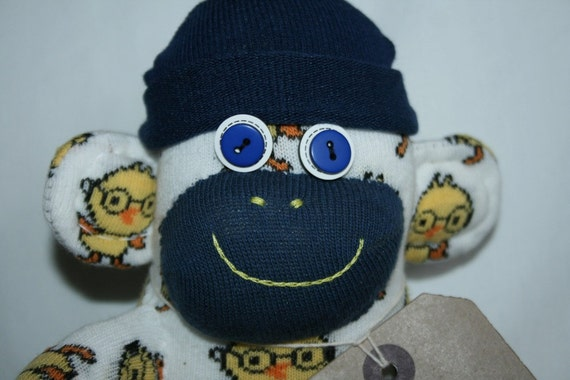Chick/Duck cartoon Sock Monkey, toy, doll - personalised with hat