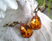Golden Topaz PearDrop Vintage Glass Crystal Jewels Earrings - 20% Discount with min. USD30 purchase - coupon code: SWEET20