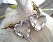 Vintage Crystal Jewels Earrings with 15x14mm Heart Crystal Clear Jewels