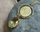 Vintage Crystal Jewel Necklace with 18x13mm Oval Crystal Jonquil Jewel