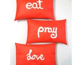 3 Red and White Throw Cushions. Eat...Pray...Love Set of Home Decor Pllows - UPCYCLED