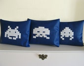 Space Invaders Set of 3 Novelty Throw Pillows.  Blue and White Decor Cushion. 100% upcycled