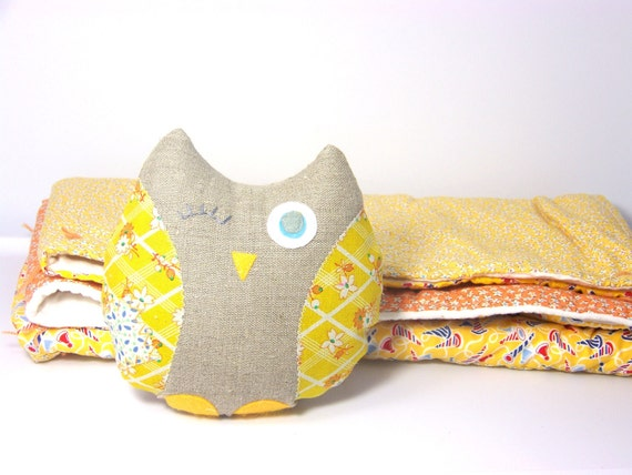 Baby Owl - Owl & Blanket - Baby Quilt - Yellow Owl