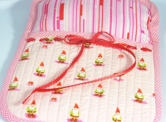 Heather Ross Munki Munki Pink Gnome Teddy Bear / Baby Doll Sleeper w/ Teddy Bear