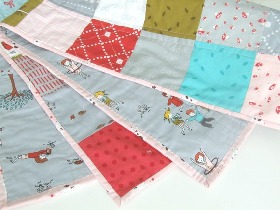 Pink and Aqua Girls Quilt - Baby Girls Crib Quilt - Moda Fabric