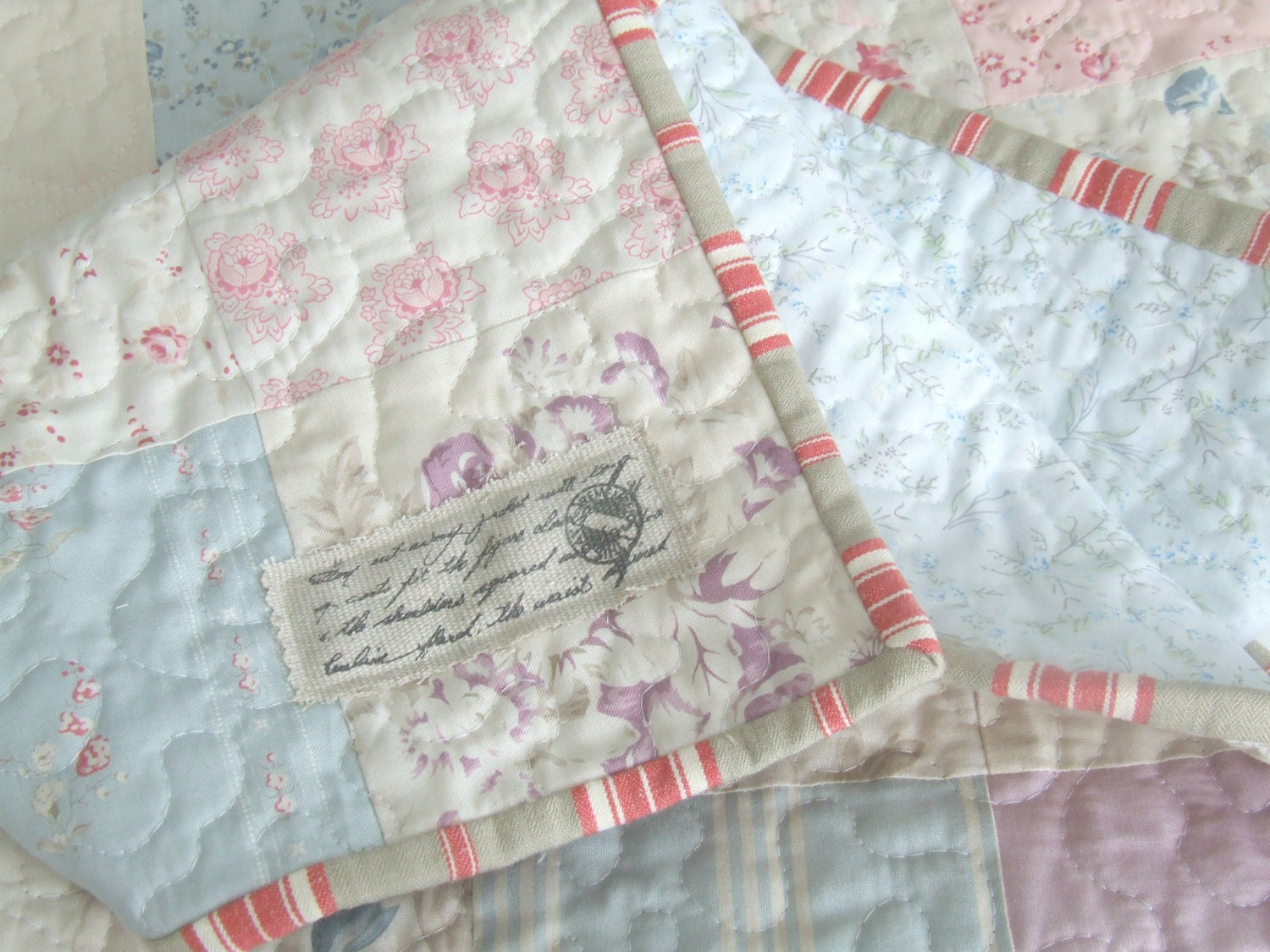 Baby Quilt Girls Quilt Moda Fabric Small Quilt Shabby Chic