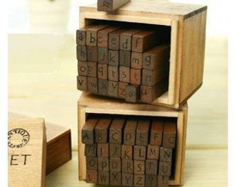 Wooden Rubber Stamp Box - Alphabet Stamps - Handwriting Style - Capital & Lowercase Letters 2 Set 56 Pcs