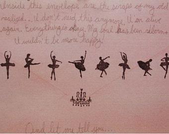 Korean Rubber Stamp Tin Box Set - Ballerina- 9 Pcs
