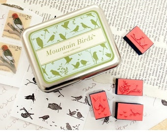 9 kinds  Korea DIY decoden Woodiness rubber stamps-mountain birds