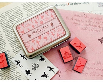 2 Box Korea DIY Woodiness rubber stamp-Ballerina