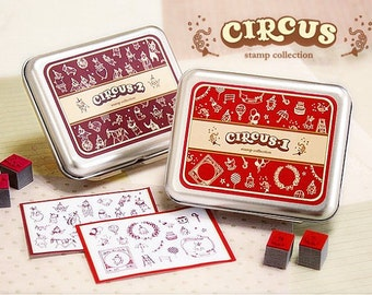 2 Boxs Korea DIY Woodiness Rubber Stamps Sets-Circus