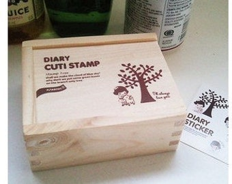 Wooden Rubber Stamp Set - DIY Diary Cuti Stamp Box Set - 15 Pcs