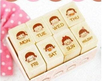 8 kinds Korea DIY Woodiness week mood rubber stamps set