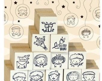 Korea DIY Wooden Rubber Stamp Set Decoden Rubber Stamps-Lovely Boy Girl