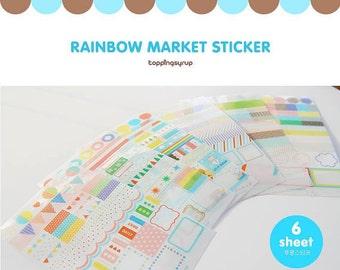 6 Sheets Korea Pretty Sticker Set - Deco Translucent Sticker Set-Blue