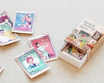 15 Sheets Korea Vintage Paper Deco Sticker Stamp Matchbox paper stickers