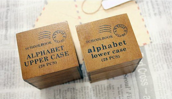 On Sale Wooden Rubber Stamp Box Alphabet Stamps Print