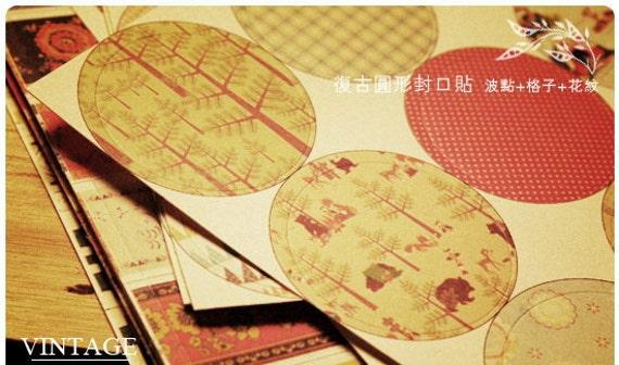 Paper Deco Sticker Set - Round Shape Stickers - 150 Pcs  Korea Vintage Paper Deco Sticker