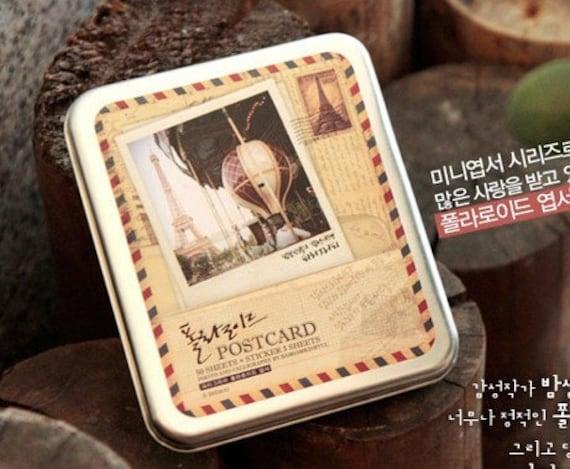 Polaroid Postcard Tin Set - City Series Korea DIY Iron Boxed Cards Stickers Set---Paris