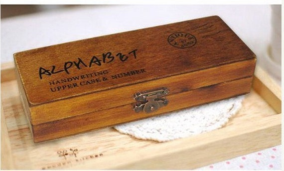 Wooden Rubber Stamp Box - Vintage Handwriting Style - Capital Alphabet Stamp and Number Stamps - 42 Pcs