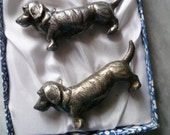 6 Knife Rests, Dachshund, French Vintage, Silver Plated, Circa 1960's Boxed.