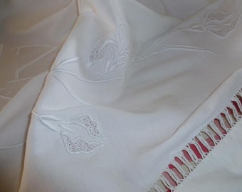 French Metis Linen Sheet, Embroidered and monogrammed..