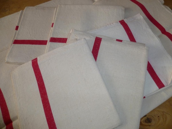 Vintage Tea Towel French Traditional Metis Red White X 6 Circa 1930's