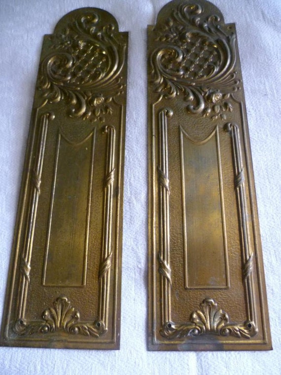 Reserved for Ruth Door  Plates, French Vintage, Circa 1940's