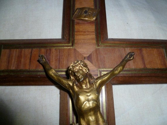 Large Inlaid  Wood Crucifix, Victorian, French Circa 1940's