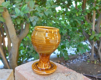 Turkish Amber Brown tiny cup chalice goblet